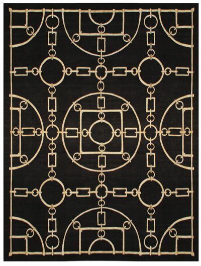 Black channel rug---I pinned this to Industrial style because it reminds me of chains.