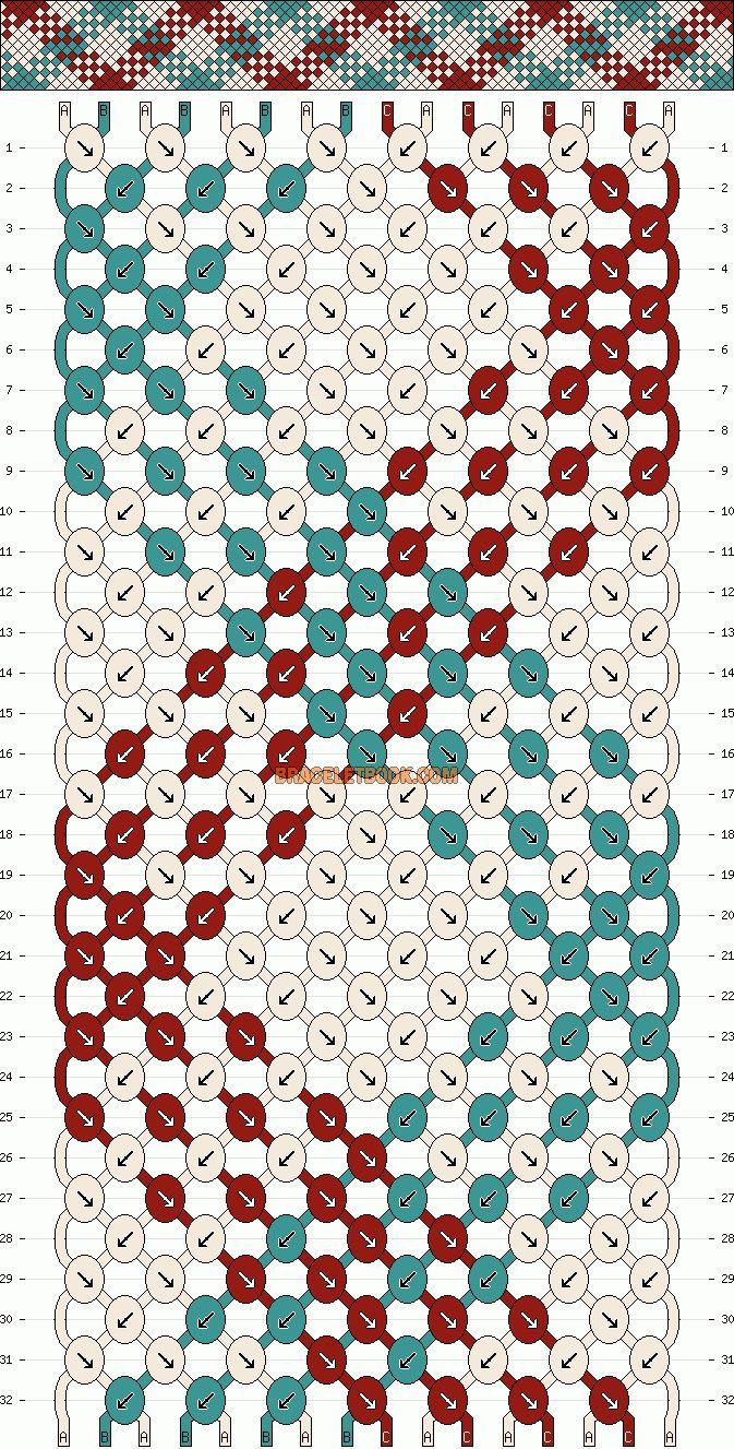 friendship bracelet pattern and many, many others, free DIY