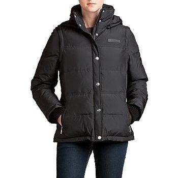 DKNY Women's Black Hooded Puffer Convertible Down Coat. SHOP IT NOW