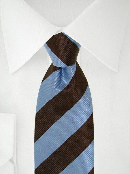 Stropdas met blauwe en bruine strepen