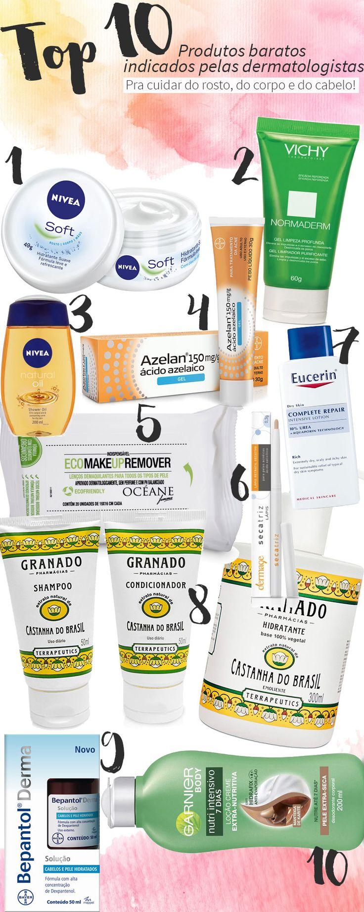 Produtos baratos indicados pelas dermatologistas dos famosos para cuidar da pele do rosto, do corpo e dos cabelos. Sim, eles existem,então vamos aproveitar!