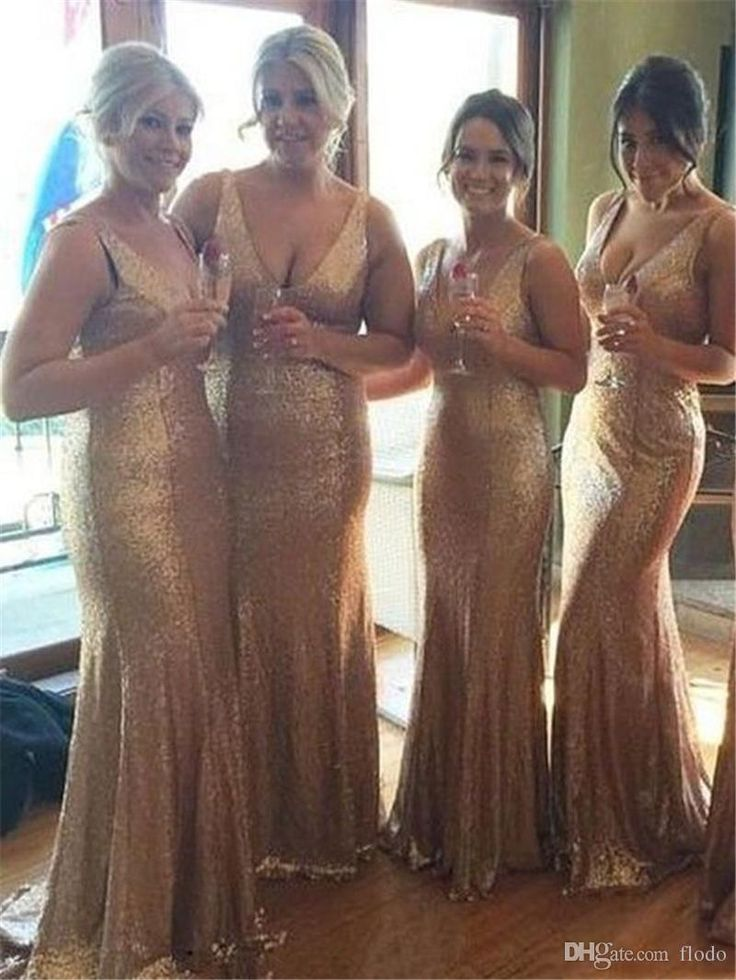 2017 Cheap Long Rose Gold Sequin Bridesmaids Party Dresses Deep V Neck Floor Length Backless Wedding Prom Party Dress Convertible Gowns Nice Bridesmaid Dresses Orange Bridesmaids Dresses From Flodo, $75.18| Dhgate.Com