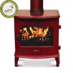 Lovely red woodburner, definitely want one!