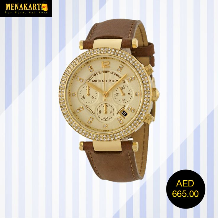MICHAEL KORS Chronograph Gold Dial Brown Leather Ladies Watch #Watches #WatchesForWomen #BrandedWatch #online #shopping
