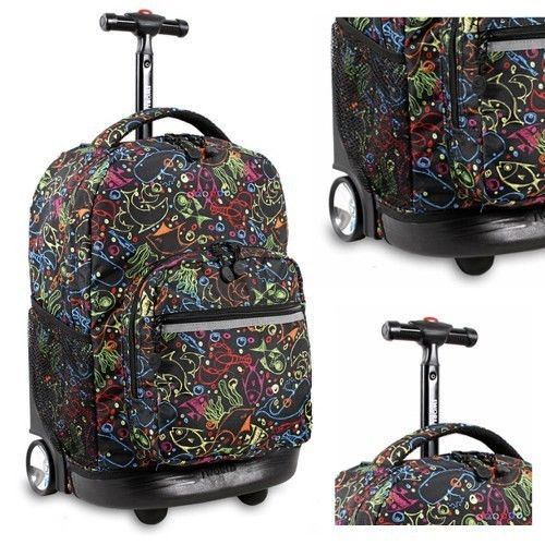 Girls Rolling Backpack Dolphin School Wheeled Bookbag Carry on Roller Bag Trolley ##Backpack