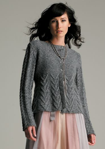 28fc6e29942b3 Romantic Twist Free Cable and Peplum Cardigan Knit Pattern