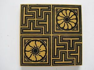 ANTIQUE-VICTORIAN-MINTON-HOLLINS-BLACK-ON-BUFF-CLAY-WALL-FLOOR-TILE-C-1885