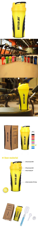 BOTTLED JOY Protein Shaker Bottle, Grip Leak Proof SportMixer Fitness Sports Nutrition Supplements Mix Bottle, Non-slip part 27oz 800ml (Yellow)