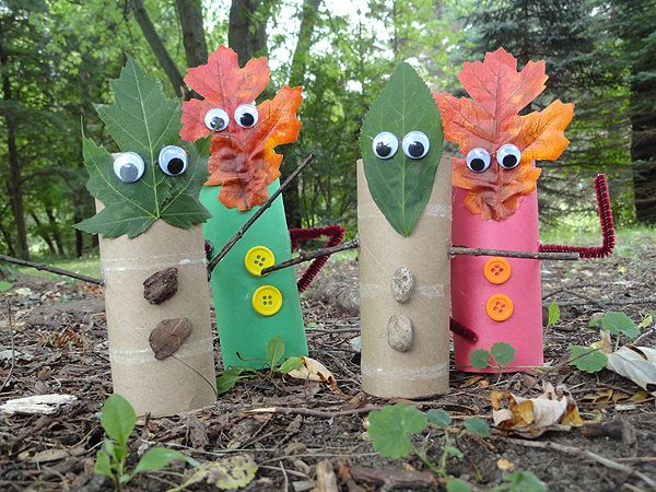 Supplies for Leaf People Craft Finger Puppets: ●Natural: *cardboard tubes *pebbles or bark *leaves *twigs ●Synthetic: *cardboard tubes *wiggle eyes *buttons *chenille stem *construction paper *silk leaves ●Tools: *scissors *glue stick *hot glue gun
