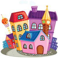 Színező építészet, házak, épületek, paloták