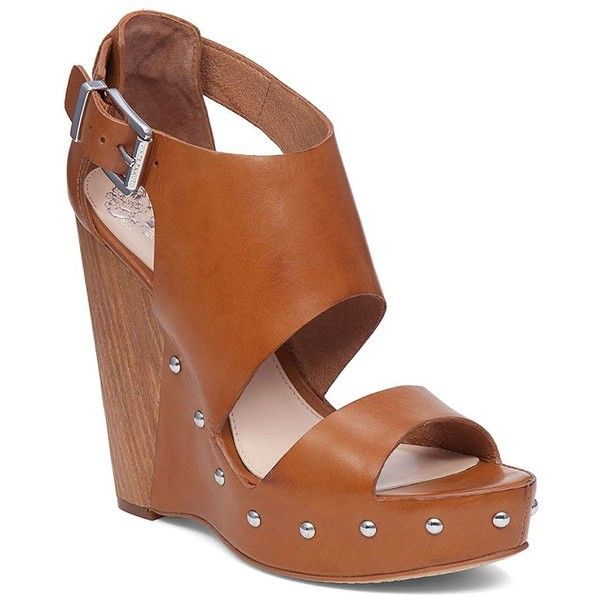 Vince Camuto Matta Leather Platform Sandals ($119) ❤ liked on Polyvore featuring shoes, sandals, brown, strappy platform sandals, brown platform sandals, brown strappy sandals, strap sandals and brown leather shoes