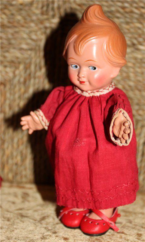Неожиданный подарок-Кьюпи. Cellba Celluloid Warenfabrik , Germany, 1930 г. / Винтажные антикварные куклы, реплики / Бэйбики. Куклы фото. Одежда для кукол
