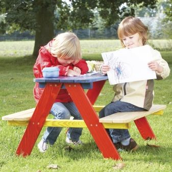 multi coloured wooden picnic bench for 4 kids available direct from kidsplaykit with free next day delivery come take a look at our wide range of uk made - Garden Furniture Next Day Delivery