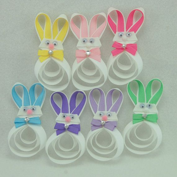 Easter Bunny Hair Clip  Easter Hair Bow  Bunny by KatiebugBows, $5.00
