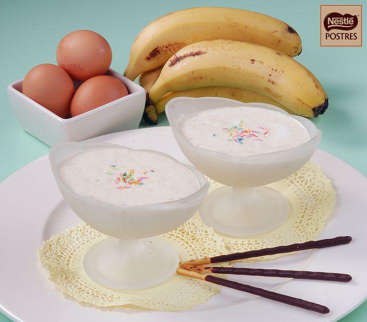 Mousse de plátanos y chocolate blanco