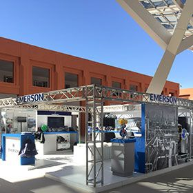 We designed and built this #exhibitionstand for our client #Emerson this year during Symphos in Morocco, Ben Guerir Congress Center.  #morocco #symphos #benguerir