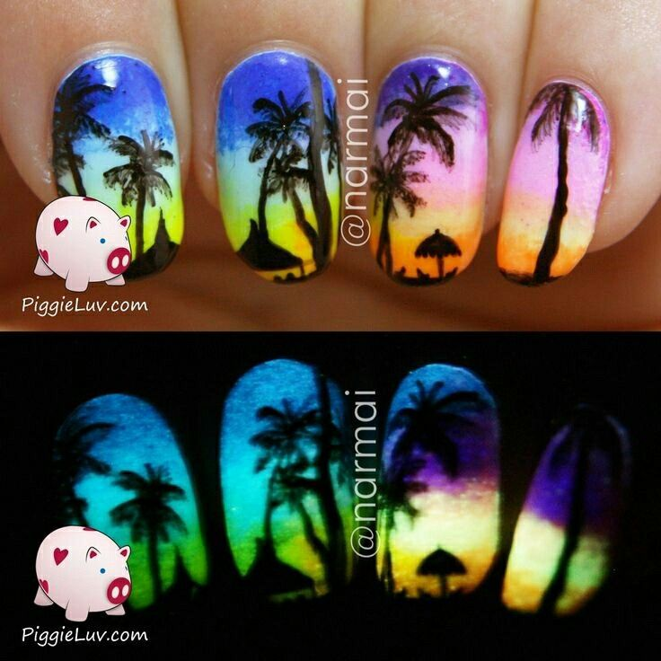 Glow in the dark sunset nails!