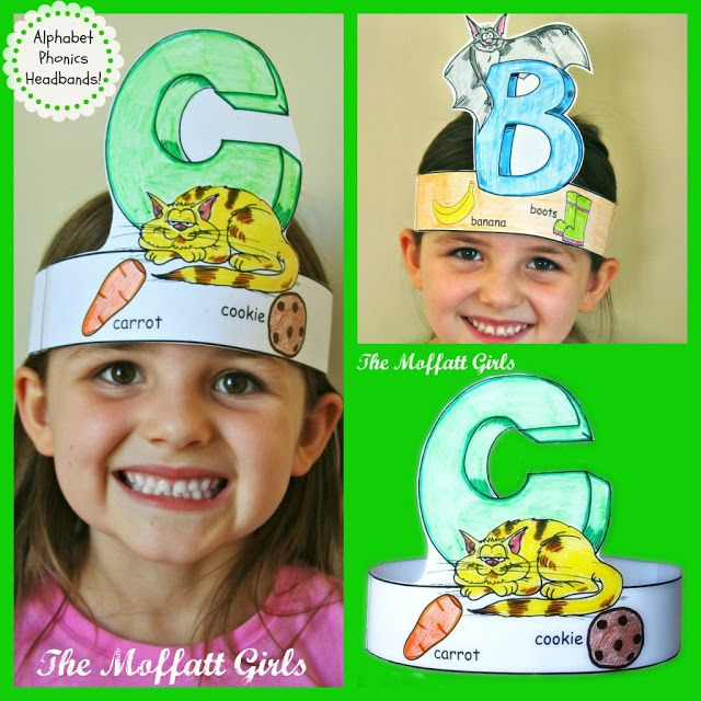 Each headband has a letter with a picture and corresponding smaller pictures to help teach/reinforce the phonics sound made by the letter.