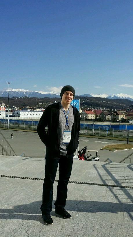 Patrick Kane outside main press center in Sochi. Said trip here was great and fired up for Olympics [Feb 10, 2014]
