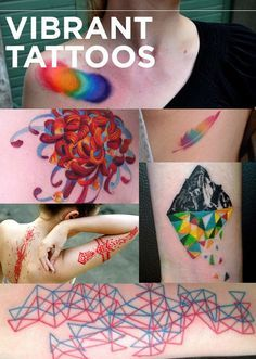 Es una brujería total que los artistas del tatuaje sean capaces de crear algo increíblemente lleno de vitalidad en la piel humana.Manchas de arco iris | pluma de arco iris | montaña cayendo | figura geométrica azul y rojo | encaje rojo | cintas