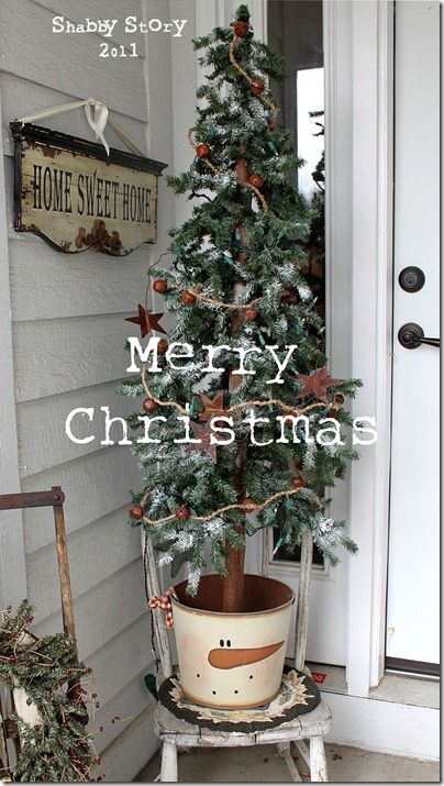 Rustic tree & sleigh for the front porch