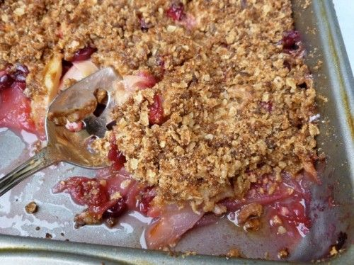 Apple, Pear, Cranberry Crisp with Gingersnap Topping