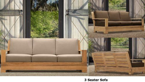 New Luxurious 6 Piece Teak Sofa Set - 3 Seater Sofa, 2 Lounge Chairs, Ottoman, Side Table & Coffee Table by WholesaleTeak. $2999.99. This Sofa Set is very comfortable & relaxing, can comfortably sits 5 people.. Sunbrella fabric Cushions are sold & listed separately for additional Cost,Contact us for more info. This beautiful and luxurious Teak Sofa set can be used as indoor or outdoor furniture.. Dimensions: Sofa - 78 W x 38 D x 31 H, Lounge Chair - 32 W x 38 D ...
