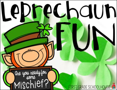 St. Patrick's Day Leprechaun Activities  Hi everyone! It's the week of St. Patrick's Day! What do you have planned to learn about and celebrate the holiday in your classroom? Our kindergarten students show up to school on St. Patrick's Day to see a classroom apparently upset (chairs knocked over green paint splashed around and gold coins scattered everywhere) by the leprechauns. The following year as first graders they don't want to see their classroom messed up by the leprechauns again so…