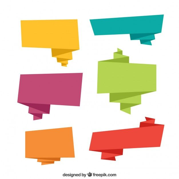 Colored origami speech bubble collection screenshot