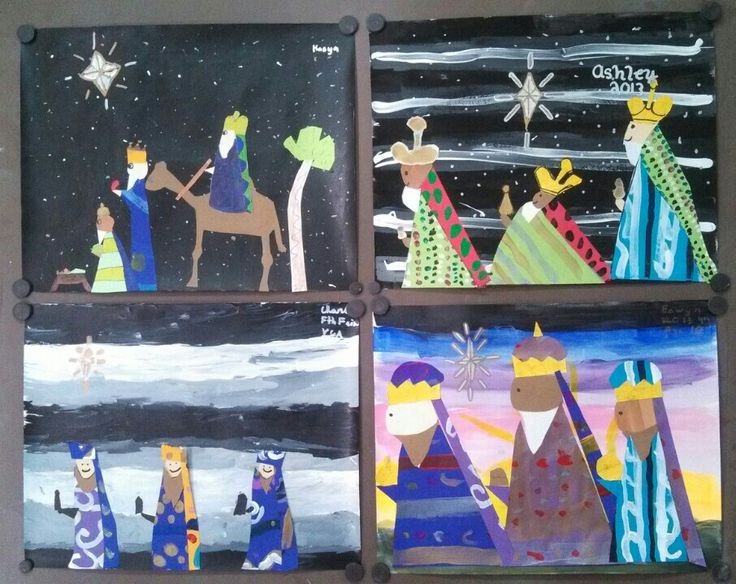 4th Grade Holiday Christmas Art. Three Wise Men collage with painted background. Art teacher Jennifer Lipsey Edwards