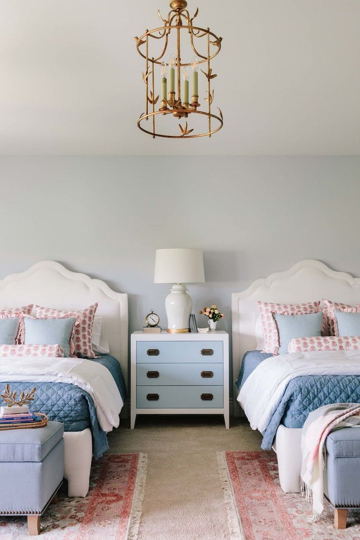 Inside A Gorgeous Wisconsin Home With A Soft And Pretty Spring Palette Girl Room Shared Girls Bedroom Bedroom Decor