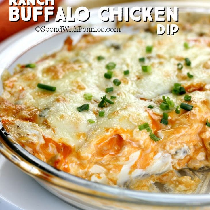 Ranch Buffalo Chicken Dip Recipe Appetizers with cream cheese, ranch dressing, sour cream, chicken, buffalo sauce, shredded Monterey Jack cheese, shredded cheddar cheese, tortillas