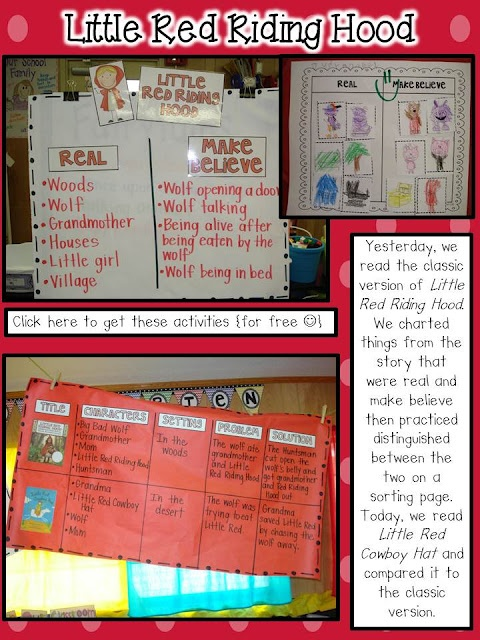 Mrs. Plant's Press: Little Red Riding Hood and Number 5 - Love the charts fjor Real/Make-Believe and Story Components
