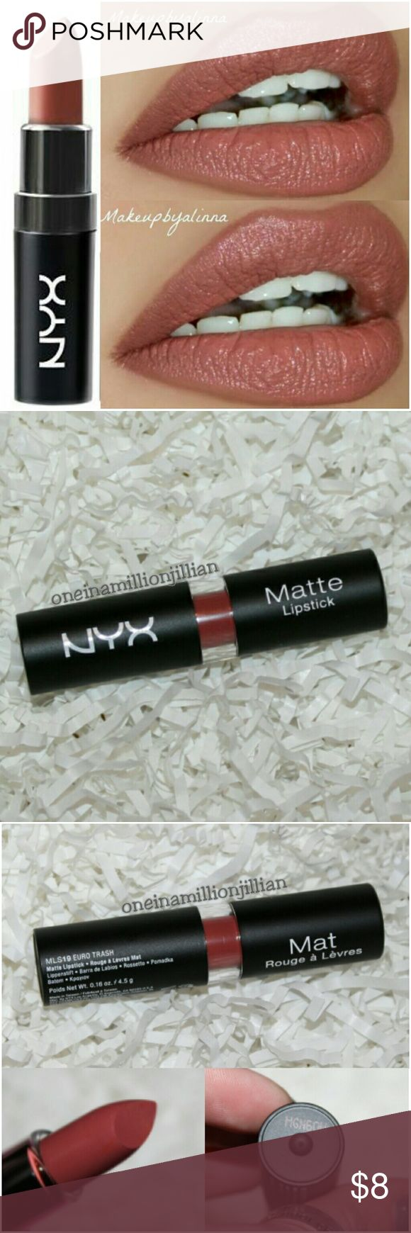 🎀 NYX Matte Lipstick - Euro Trash New - Never Used (Swatch from Google)  Full Sz & Authentic  Color: Euro Trash (dark pink brown) ☆ MAC Velvet Teddy Dupe ☆  NYX Matte Lipstick is a highly pigmented lipstick that glides on smoothly & stays put. Velvety non-glossy, high-fashion matte finish envelops lips in rich color.  Check out my page for more great items & discounts. #oneinamillionjillian NYX Makeup Lipstick