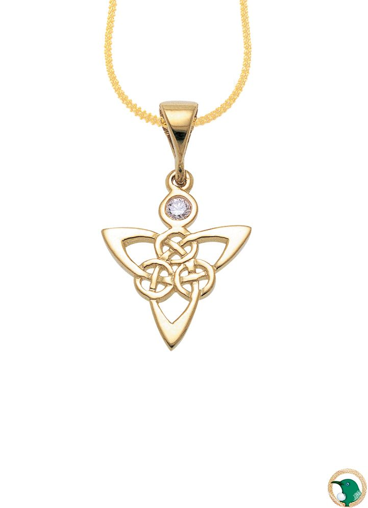9ct yellow gold Celtic knot work pendant with one .05ct diamond set. G colour, SI1 clarity.