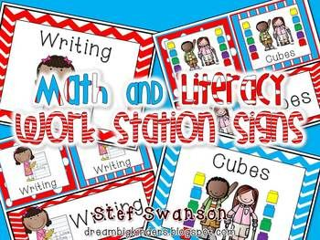 {Math and Literacy Work Station Signs} 34 Work Station Center Signs! 16 Math Center Signs and 18 Literacy Work Station Signs. dreambigkinders.blogspot.com