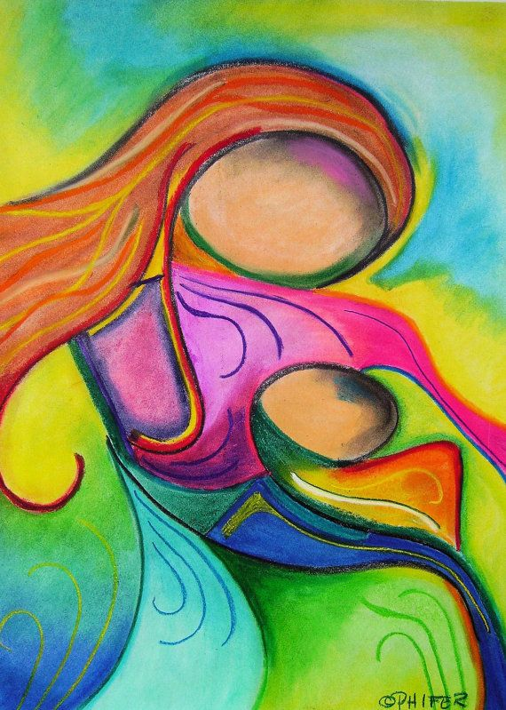 Figurative soft pastel drawing print (Mother May I)