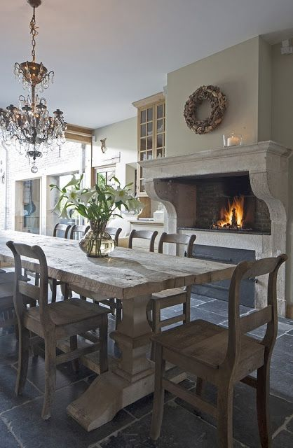 Beautiful fireplace in an eat - in kitchen - South Shore Decorating Blog