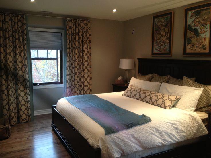 A beautiful bedroom I sewed:  draperies, cushions.