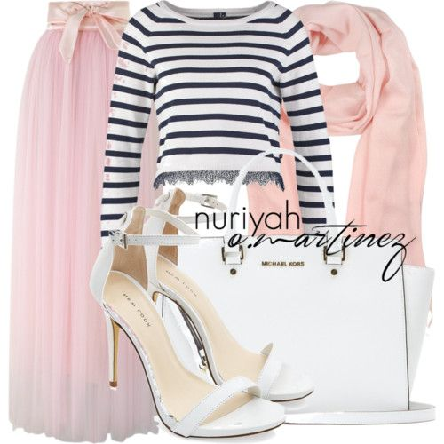 Hijab Outfit by Nuriyah O. Martinez      Long sleeve top €32 - zalando.co.uk    Chicwish pink layered skirt €53 - chicwish.com    White pumps €47 - newlook.com    MICHAEL Michael Kors leather purse €380 - mytheresa.com    Mila Schön long scarve €70 - forzieri.com