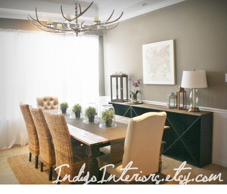 Dining room with pottery barn style wine rack buffet and for Wine themed dining room ideas