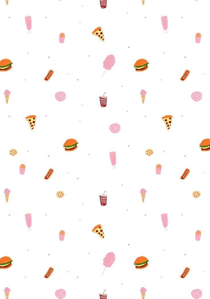 junk food / burger / hot dog / ice cream / candy floss / milkshake / donut / pizza / fries / pop / pattern design / illustration