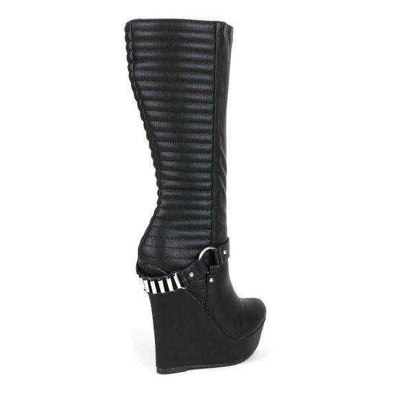 Onlymaker Damenschuhe High Heels Wedge Plateau Knie Hoch Stiefel: Amazon.de: Schuhe & Handtaschen