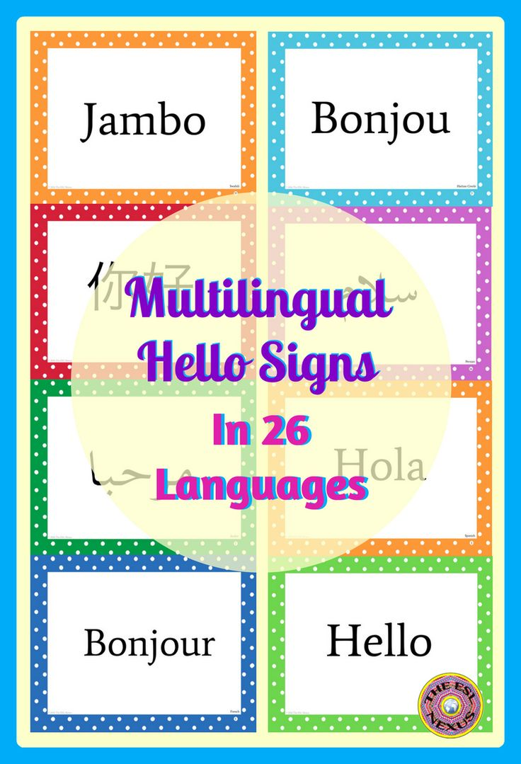 """Use these multilingual posters at parent conferences & school-wide events to say HELLO to your school community. They can also be used to greet students at the start of the new school year. Each 8.5"""" x 11"""" poster has a border in a polka dot theme theme in 1 of 9 different colors. The language on each poster is identified in the bottom right corner as well as in a key on a separate page."""