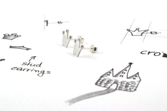 Crown earrings sterling silver corona stud earrings