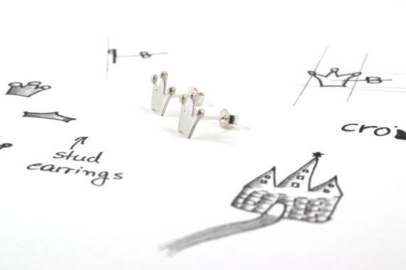 Crown earrings sterling silver corona stud earrings