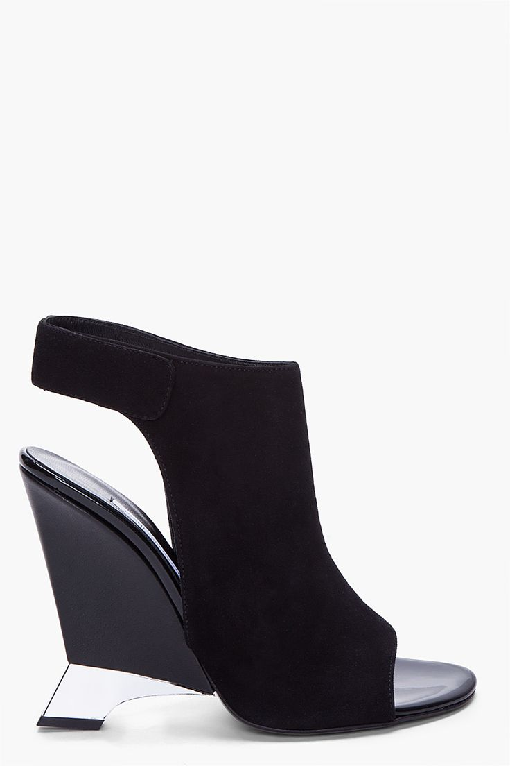 DVF black suede heel