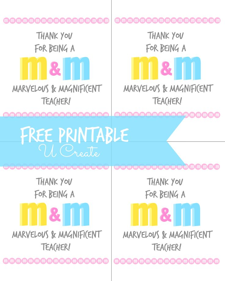 428 best teacher appreciation gift ideas images on pinterest gift m m teacher appreciation printable negle Image collections