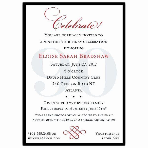 90th Birthday Invitation Wording Lovely Classic 90th Birthday Invitatio 60th Birthday Party Invitations 80th Birthday Invitations Birthday Invitation Templates