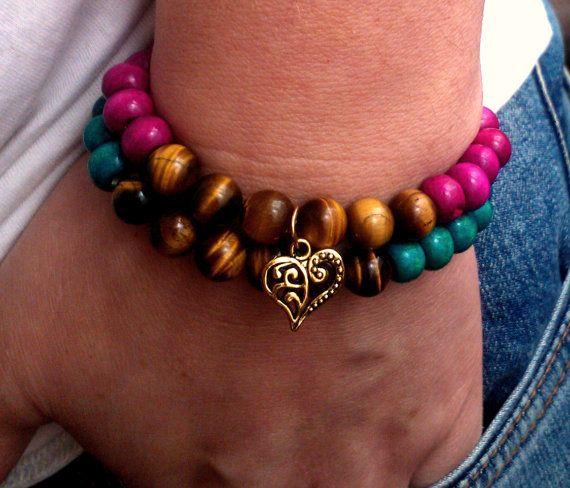 Wooden Stretch bracelets  bead bracelet yoga by DeerestJewelry